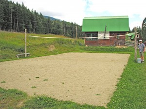 Soft, sandy volleyball court.