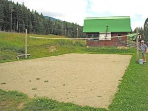 Soft, sandy volleyball court.